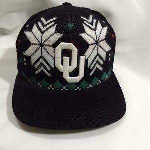 Oklahoma Sooners OU College Snowflake Black Knit C